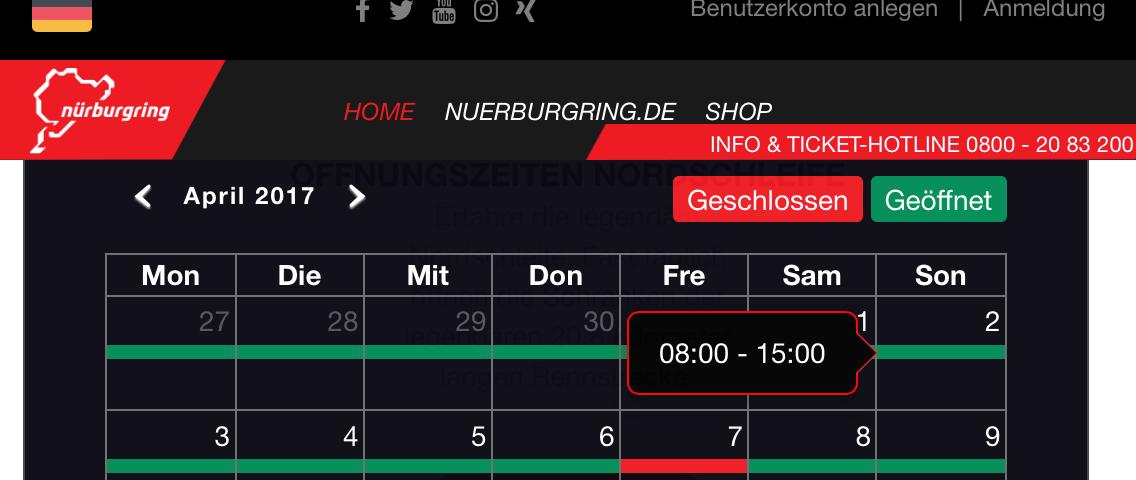 2017 Nürburgring Opening times just released | BridgeToGantry com