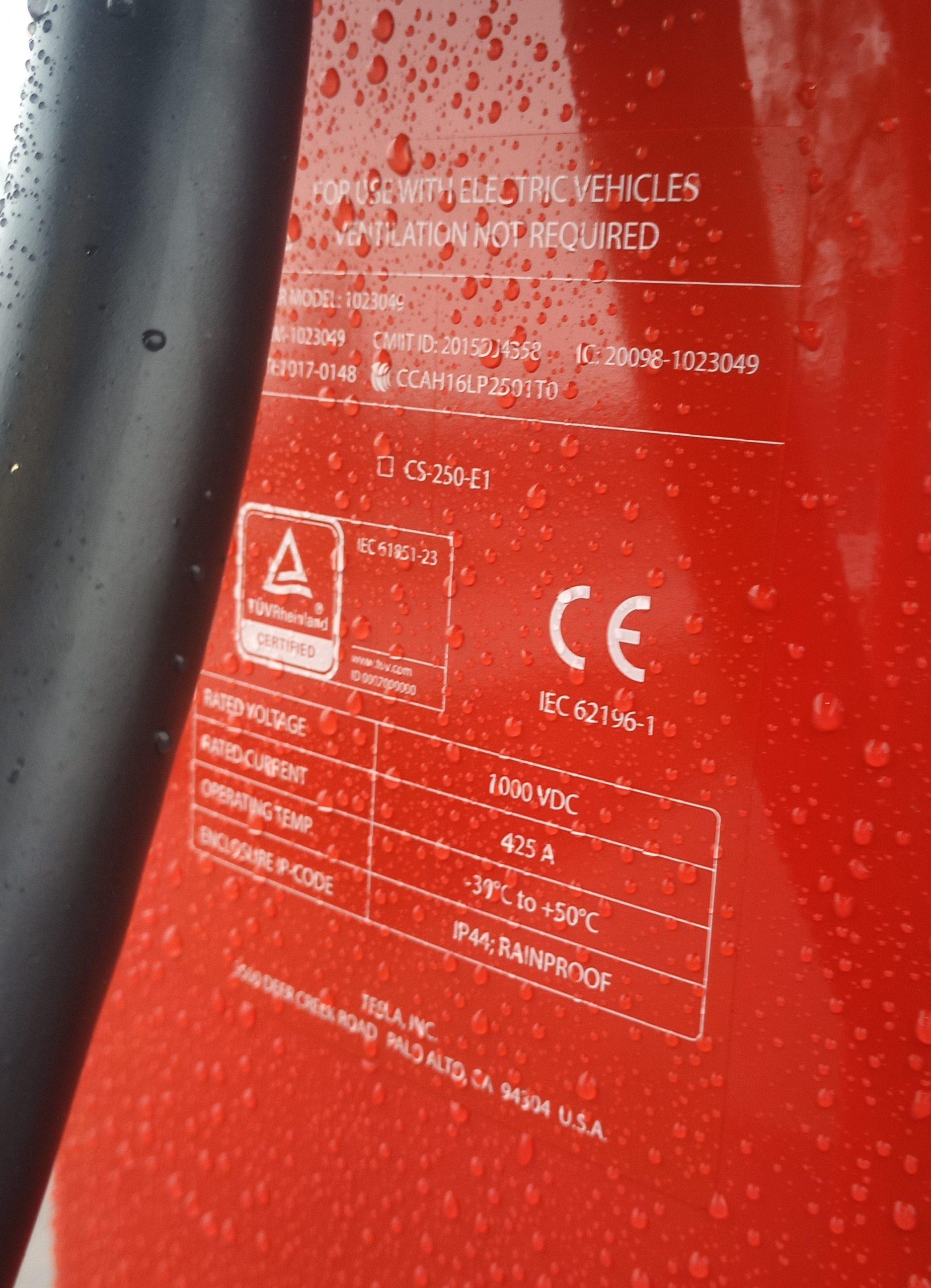 Tesla SuperCharger V3 specifications at the Nürburgring