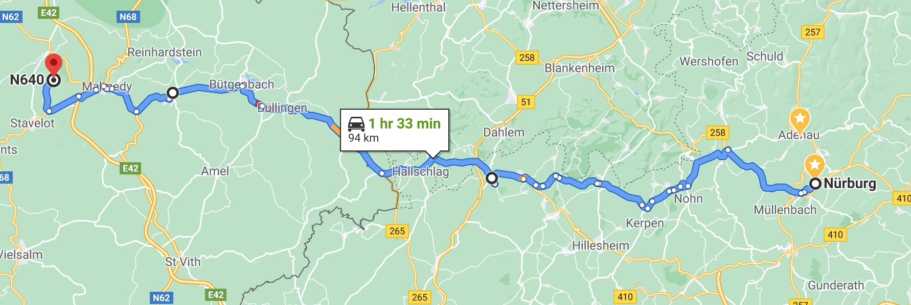 Nürburg to Spa, the shortest route
