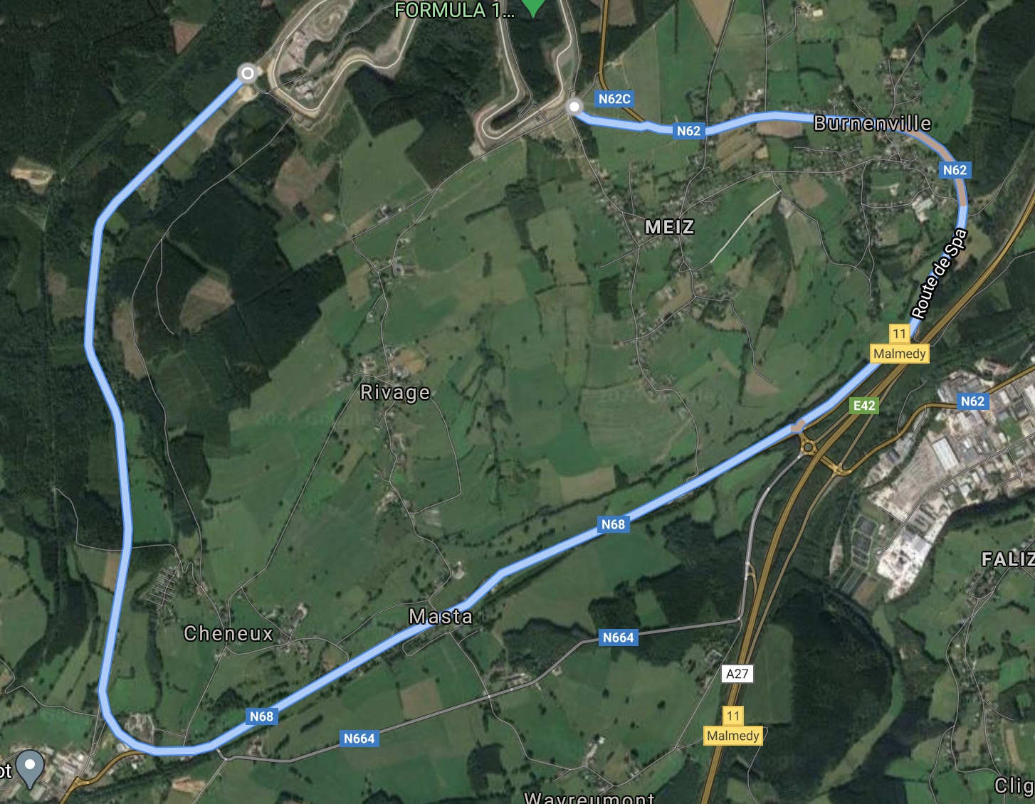 Old Spa Francorchamps road map