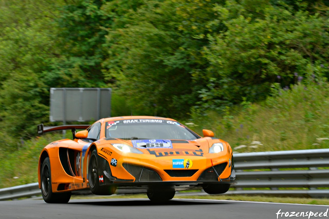 Kevin Estre setting pole position at the Nürburgring 24 hour in 2014